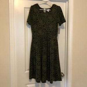 NWT LuLaroe Amelia dress Lg green and black